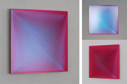 Rosa M Hessling, LUCE CLARIUS II, 2015, Pigment, lacquer on aludibond, 15.7 x 15.7 inches (40 x 40 cm), three views